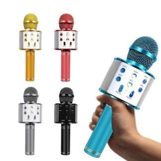 WS-858 Bluetooth Wireless Microphone Handheld Karaoke Mic USB Mini Home KTV For Music Playing Singing Speaker Player Music