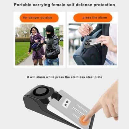 Portable Carrying Female Personal Outdoor Alarm Smart Sensor Wireless Vibration Door Stop Alarm Block Security Alarm System Electronic